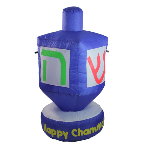 4' Blue Happy Chanukah Inflatable Dreidel Outdoor Decoration