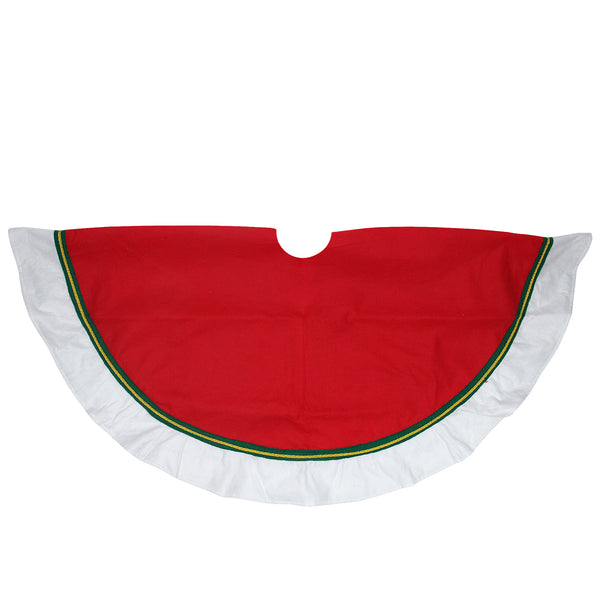 "48"" Red and White Contemporary Christmas Tree Skirt"