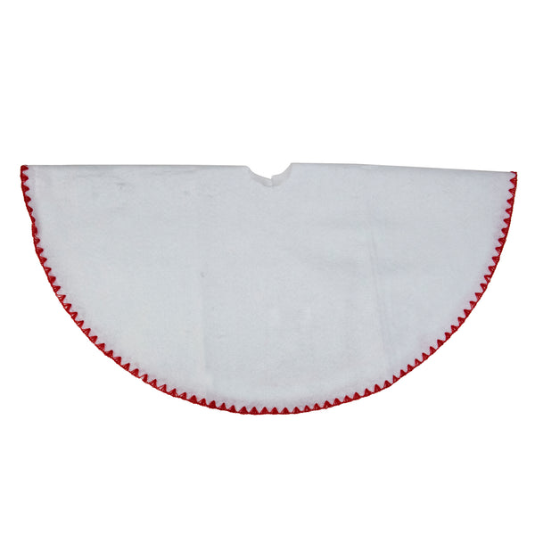 "26"" White and Red Shell Stitching Mini Christmas Tree Skirt"