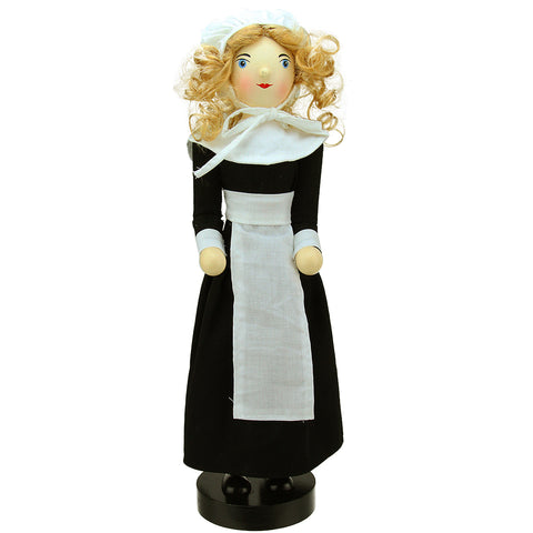 "14"" Pilgrim Woman Wooden Fall Harvest Thanksgiving Nutcracker"