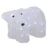 "13.5"" White Lighted Commercial Grade Acrylic Baby Polar Bear Christmas Decoration"