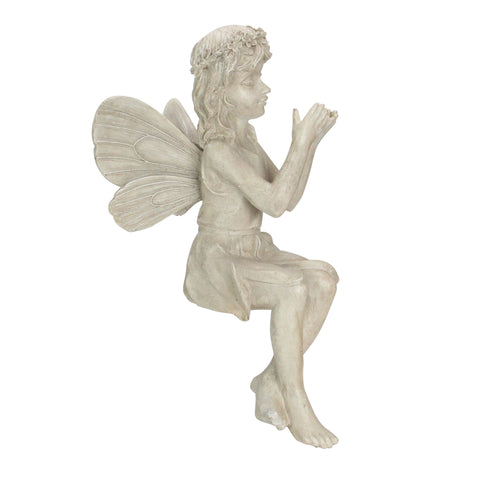 "17"" Gray Sitting Fairy with Ladybug Outdoor Garden Statue"