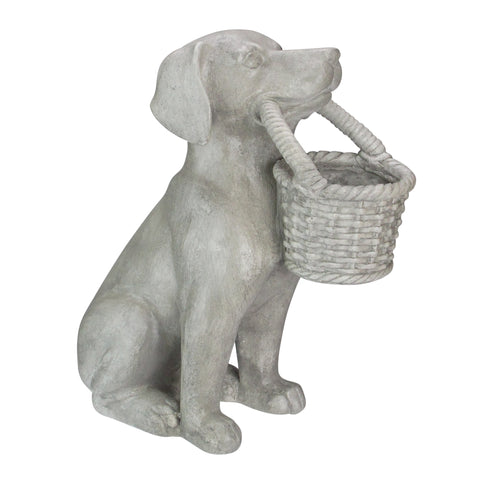 "14"" Gray Dog with Basket Outdoor Garden Planter Statue"