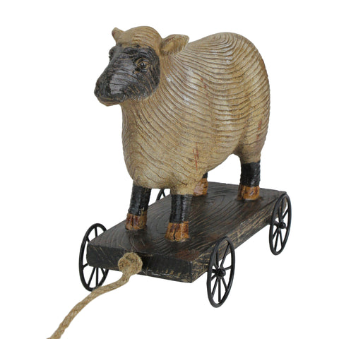 "10"" Black and White Wood Textured Sheep on Cart Outdoor Garden Statue"