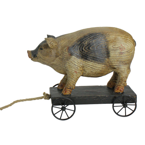 "10"" Black and White Wood Textured Pig on Cart Outdoor Garden Statue"