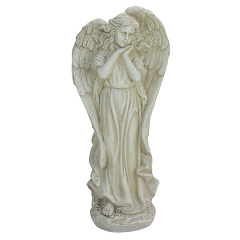 "21.5"" Angel Reflecting in Thought Outdoor Garden Statue"