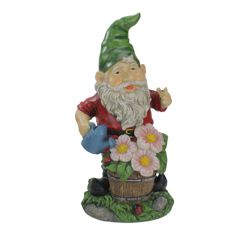 "13"" Pre-Lit Solar Powered Gnome Watering Flowers Outdoor Patio Garden Statue"