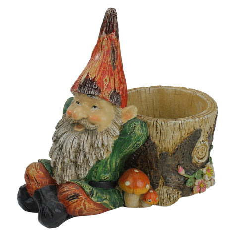 "9.5"" Weathered Lounging Gnome with Tree Trunk Planter Garden Statue"