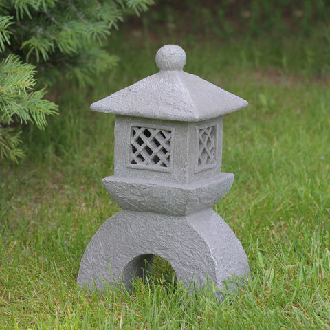 "17"" Distressed Gray Solar Powered LED Lighted Stone Pagoda Outdoor Patio Garden Statue"