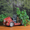 "14.5"" Red Vintage Car LED Lighted Solar Powered Outdoor Garden Patio Planter"