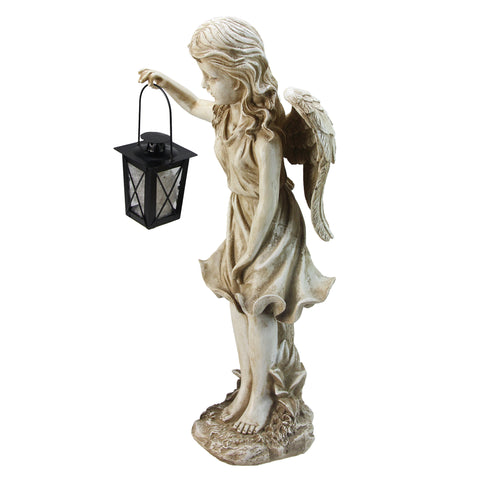 "21"" Weathered Ivory Standing Angel with Tealight Candle Lantern Outdoor Garden Statue"