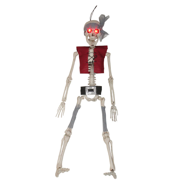 "20"" Lighted Pirate Skeleton with Vest and Belt Hanging Halloween Decoration"