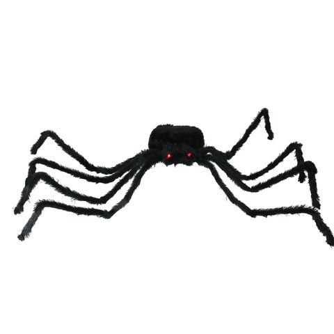 "44"" Lighted Long Hair Black Spider with Red Eyes Halloween Decoration"