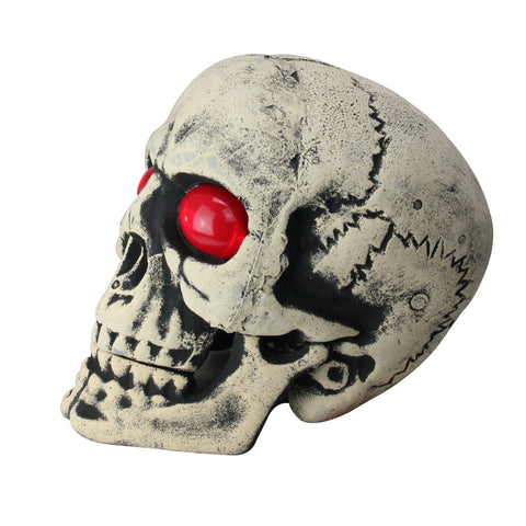 "18"" Lighted Skull Head with Red Eyes Halloween Table Top Decoration"