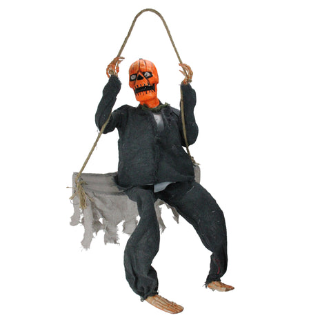 "28"" Hanging Play Swing Pumpkin Man Halloween Decoration"