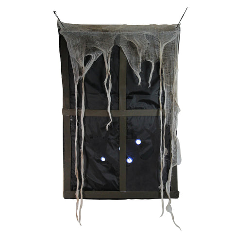 "41"" Lighted Ghostly Faux Window with Sound and Tattered Curtain Halloween Decoration"