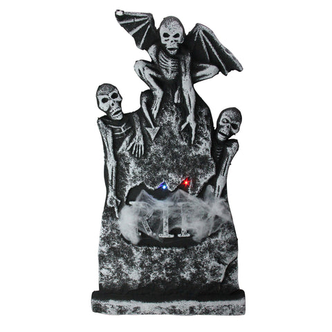 "29.5"" Lighted Tombstone with Winged Skeletons Halloween Decoration"