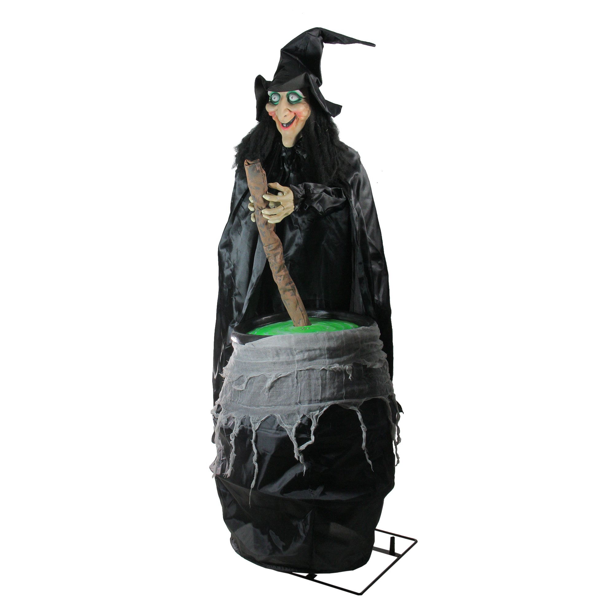 5.5' lighted witch and cauldron animated halloween decoration with
