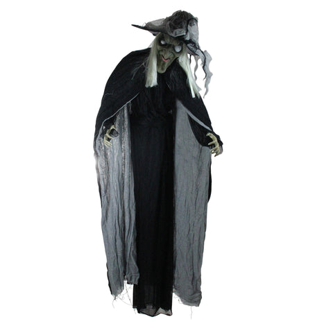 6' Black and Gray Pre-Lit LED Standing Wicked Witch with Cape Halloween Figurine