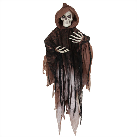 4' LED Lighted Hooded Flying Skeleton Indoor Halloween Decoration