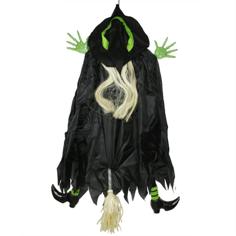 4.5' Black and Green Flying and Crashing Wicked Witch Hanging Halloween Decor