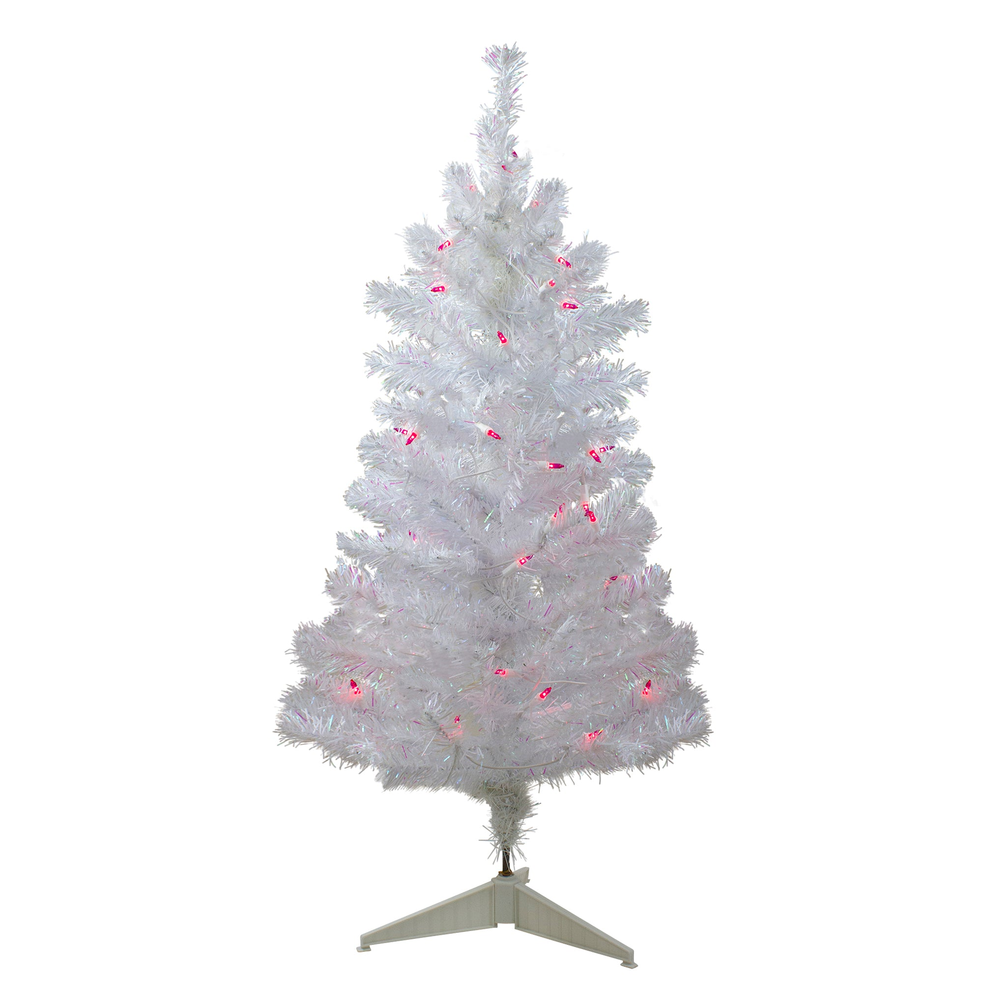 3 Pre Lit White Iridescent Pine Slim Artificial Christmas Tree Pink Northlight Seasonal