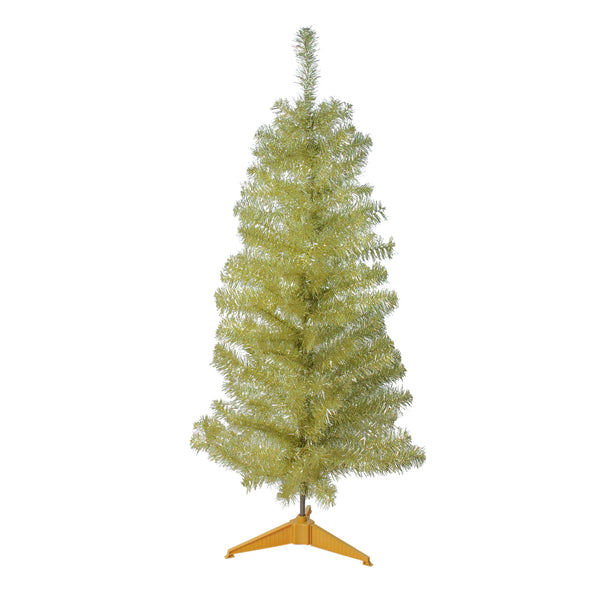 4' Slim Gold Iridescent Tinsel Artificial Christmas Tree - Unlit