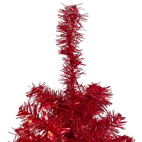 "4' x 29"" Pre-Lit Slim Red Artificial Tinsel Christmas Tree- Clear Lights"