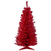 4' Pre-Lit Slim Red Artificial Christmas Tree - Clear Lights