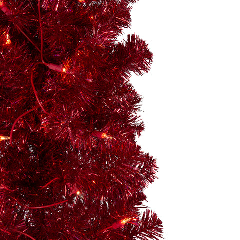 "6' x 20"" Pre-Lit Red Tinsel Artificial Christmas Tree- Clear Lights"