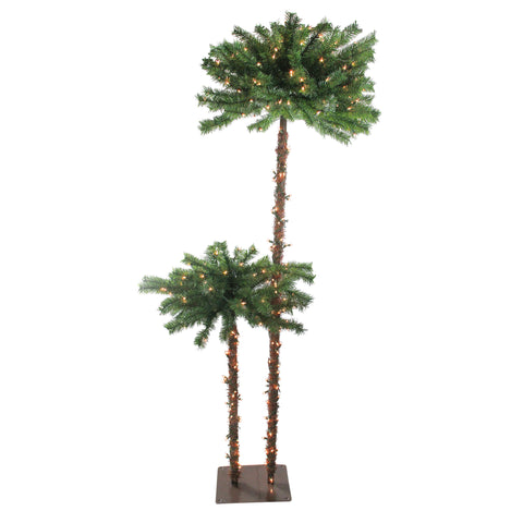 6' Pre-Lit Tropical Palm Tree Artificial Christmas Tree - Clear Lights