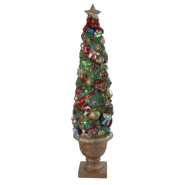 5' Prelit Fiber Optic LED Topiary Outdoor Artificial Christmas Tree