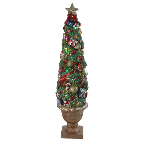 5' LED and Fiber Optic Lighted Christmas Topiary in Gold Pot Outdoor Decoration