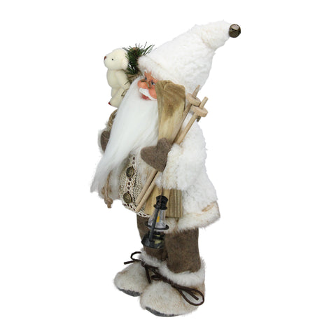"13"" Alpine Chic Beige and White Skiing Santa with Gift Bag and Lantern Decorative Christmas Figure"