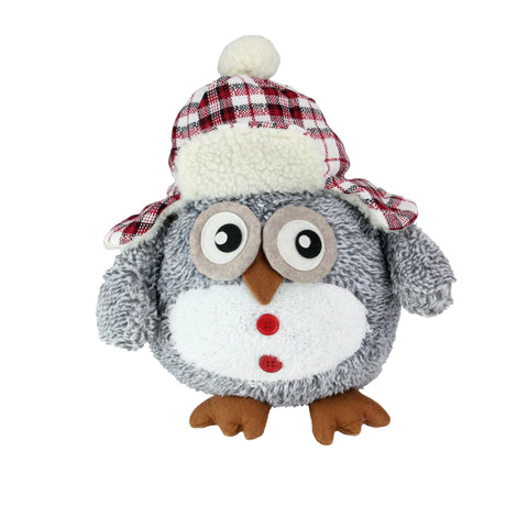 "12"" Gray Owl with Plaid Bomber Cap Plush Table Top Christmas Figure"