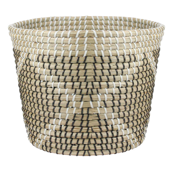 "11.5"" Beige Seagrass Woven Basket with Black and White Accents"