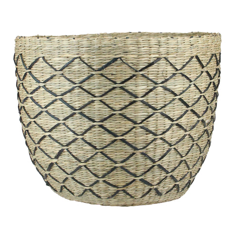 "11.25"" Natural Brown and Black Lattice Print Woven Seagrass Basket"