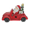 "15"" Red and White Santa Claus Driving Vintage Beetle Christmas Tree Table Top Decoration"