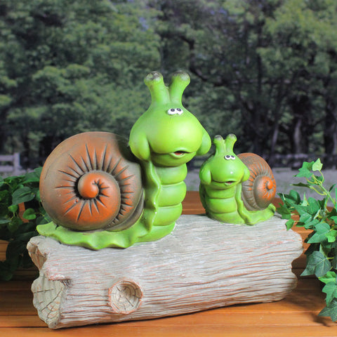 "14.5"" Green and Brown Mom with Baby Snail on a Tree Stump Outdoor Garden Statue"