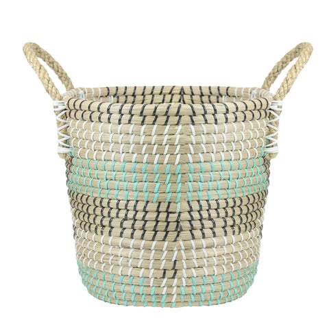 "14"" Natural Woven Seagrass Basket with Teal, Black and White Accents"
