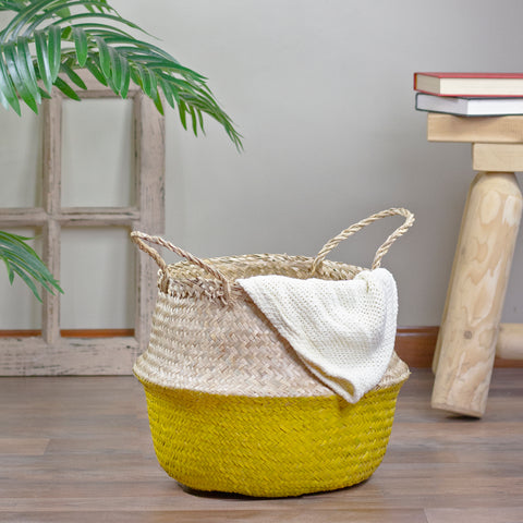 "15.5"" Beige and Yellow Large Belly Basket with Handles"