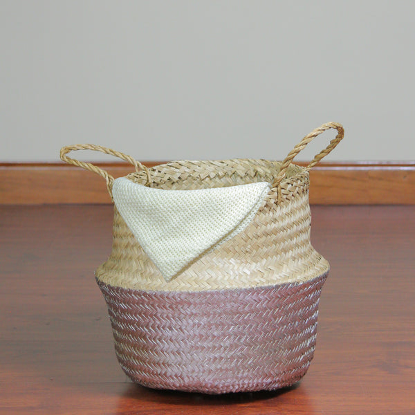 "13"" Beige and Silver Seagrass Belly Wicker Basket with Handles"