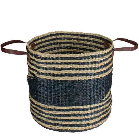 15 Beige and Black Woven Seagrass Basket with Handles
