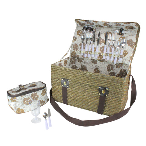 "20.5"" Gold Handwoven 4-Person Picnic Basket Set with Accessories"