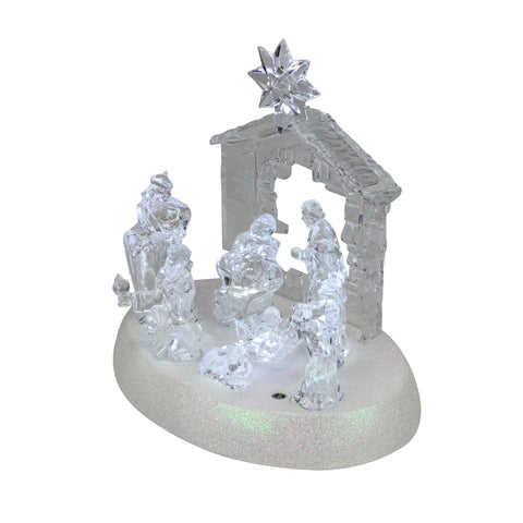 "7.75"" LED Holy Family in Stable Christmas Nativity Scene Tabletop Decoration"