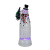 "11"" LED Lighted Shimmering White Snowman Christmas Table Top Glitterdome"