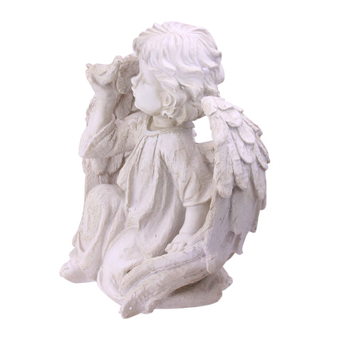 "10.25"" Ivory Cherub Angel on Knee with Dove Outdoor Patio Garden Statue"