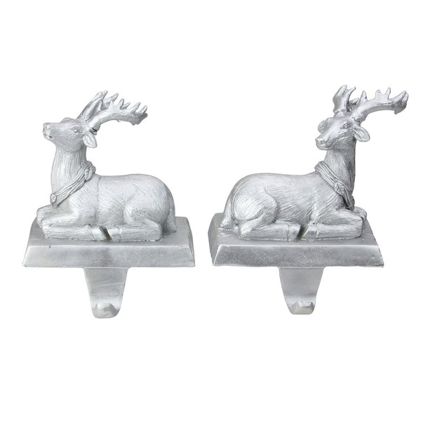 Set of 2 Silver Reindeer Christmas Stocking Holders 6.5""