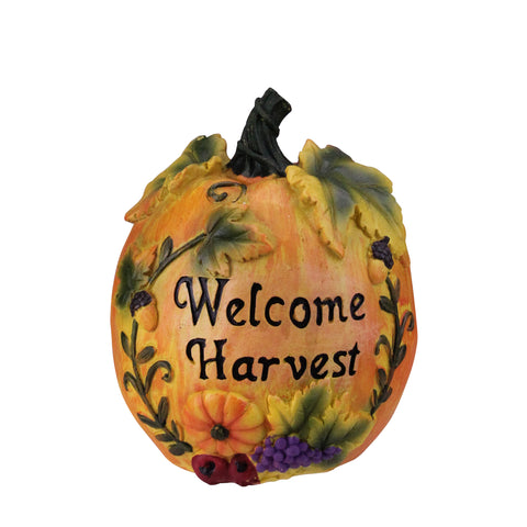 "7"" Orange and Green Floral Welcome Harvest Thanksgiving Tabletop Figure"