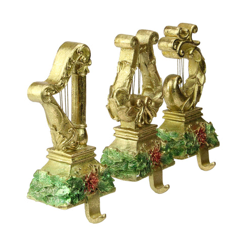 Set of 3 Gold Harp Musical Instruments Glittered Christmas Stocking Holders 8""